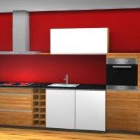 Massivholz-Kueche in rot