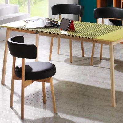 Stühle Lignum Arts S-01 in Buche massiv mit Lederpolster