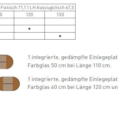 Tisch Girado rund, Größen- und Typenübersicht